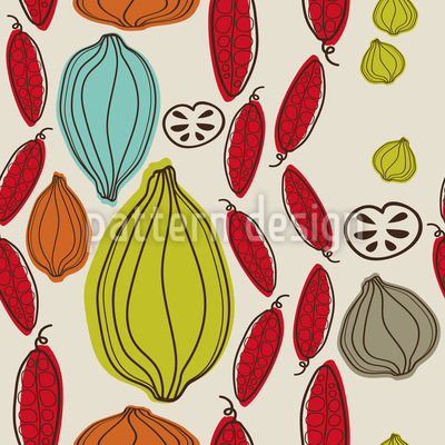 Autumn Vegetables Vector Pattern