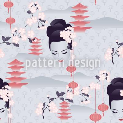 Hanami Kirschblüte Im Morgengrauen Designmuster