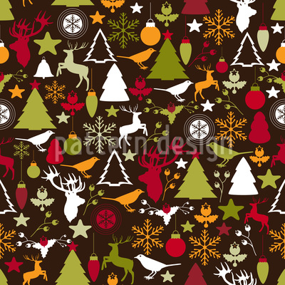 Christmas In The Forest Seamless Vector Pattern