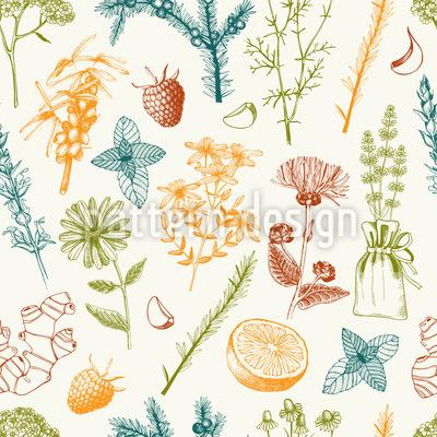 Die Heilkraft Des Gartens Nahtloses Muster