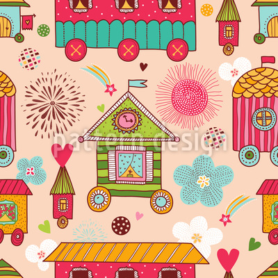 Mobile Homes Seamless Pattern