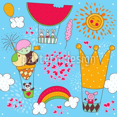 Eine Lustige Ballonfahrt Musterdesign