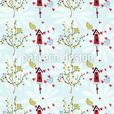 Bird House Romance Seamless Vector Pattern