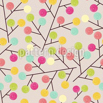 Süsse Lollies Wachsen Auf Bäumen Nahtloses Muster