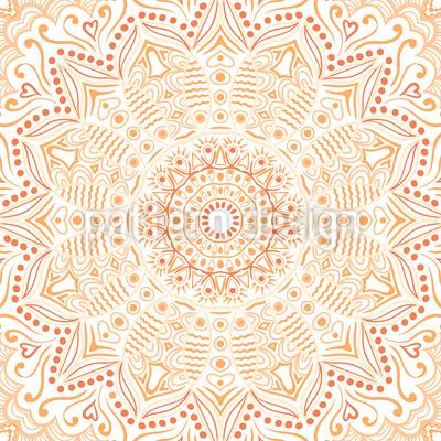 Saffron Mandala Seamless Pattern