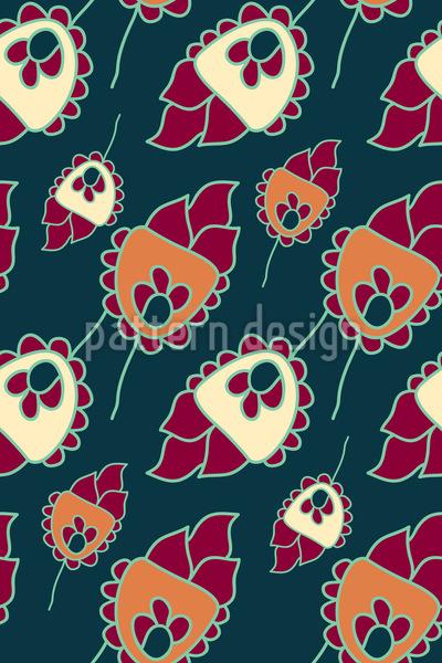 Niedliche Blumen Fantasie Rapportiertes Design