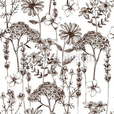 Herb And Butterfly Repeating Pattern