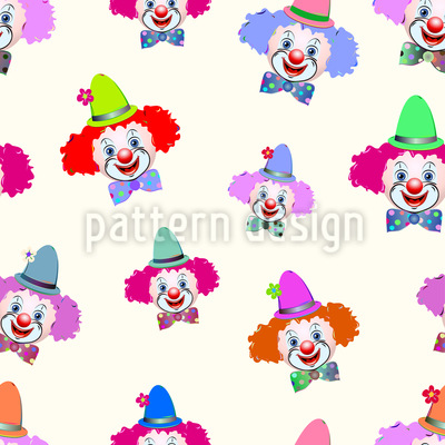 Friendly Clowns Seamless Vector Pattern
