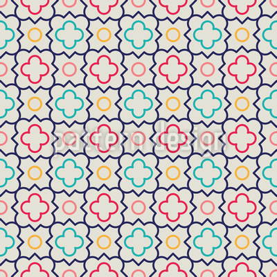 Cute Quatrefoil Flowers Repeat Pattern