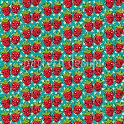 Kawaii Erdbeere Rapportiertes Design