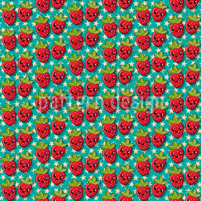 Kawaii Strawberry Repeating Pattern