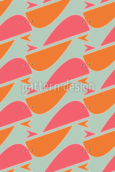 Whales Show Up Seamless Vector Pattern