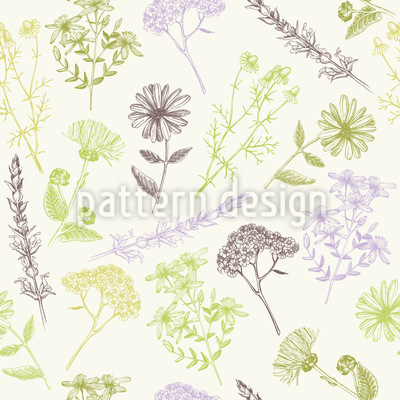 Healing Flowers Seamless Vector Pattern