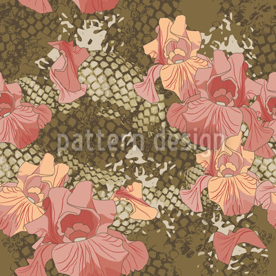 Schlangen und Blumen Muster Design
