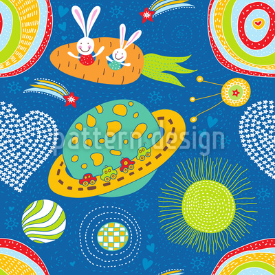 Space Bunnies Vector Pattern