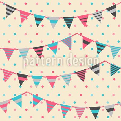 Sweet Festoons On Polkadots Vector Pattern