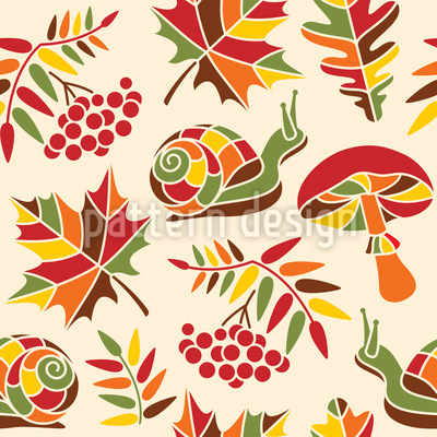 The Snail And The Autumn Vector Design