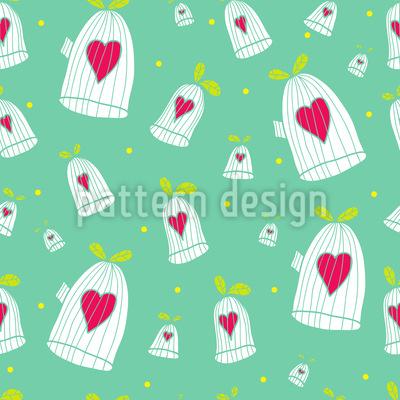 Herzen Öffnen Käfigtüren Vektor Muster