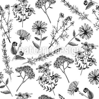 Heilende Blumen Nostalgie Nahtloses Muster