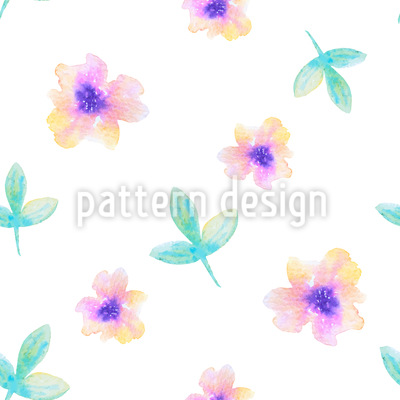 Delicate Watercolor Flowers Repeat Pattern