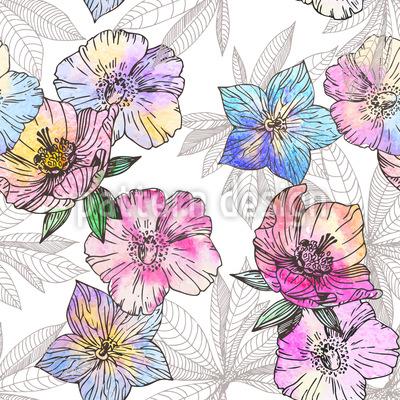 Flora Liebt Wasser Und Farbe Vektor Muster