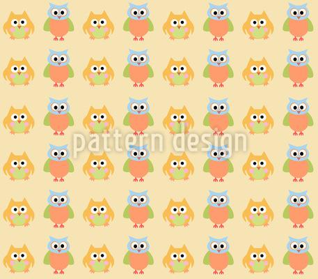 Criss Cross Owls Seamless Pattern