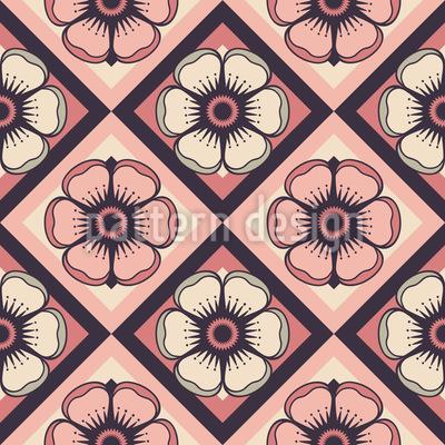 Schachbrett Floralia Vektor Muster