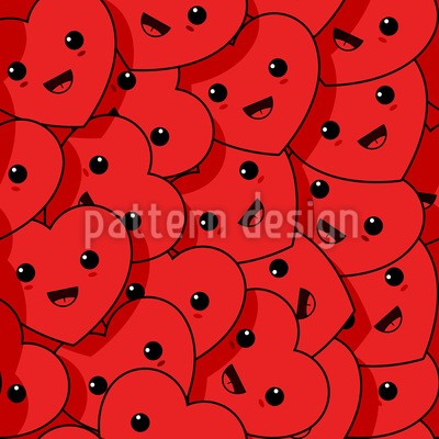 Happy Kawaii Hearts Seamless Vector Pattern