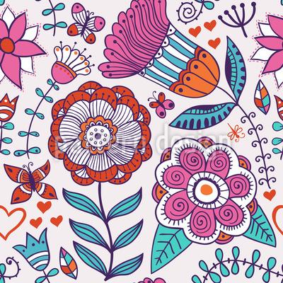 Es Grüssen Die Blumen Und Schmetterlinge Musterdesign