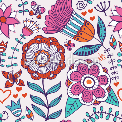 Flower And Butterfly Greetings Pattern Design