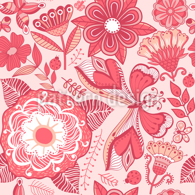 Butterfly And Flower Fantasies Pattern Design