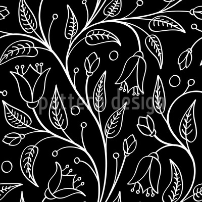 Floral Engraving Vector Ornament