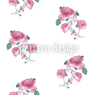 English Tea Roses Seamless Vector Pattern