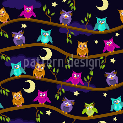 A Night At The Owl Hotel  Seamless Vector Pattern