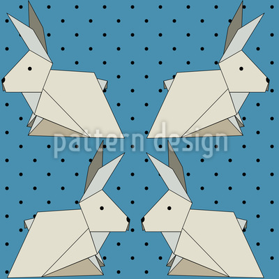 Origami Rabbits On Polkadots Repeating Pattern