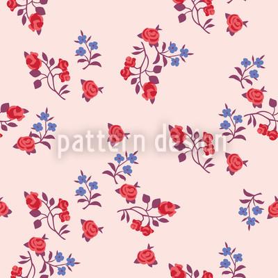 Streublumen Auf Rosa Nahtloses Vektor Muster