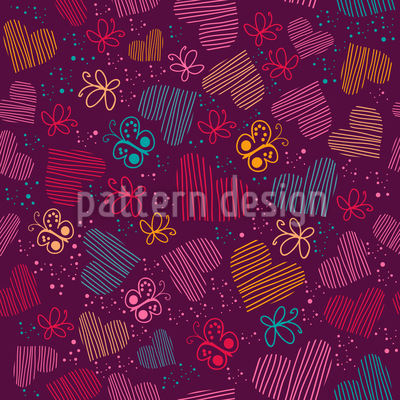 Universe Of Butterflies And Hearts Vector Design