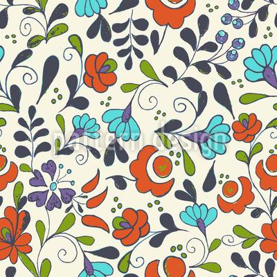 Folklore Flowers On Vases Repeat Pattern
