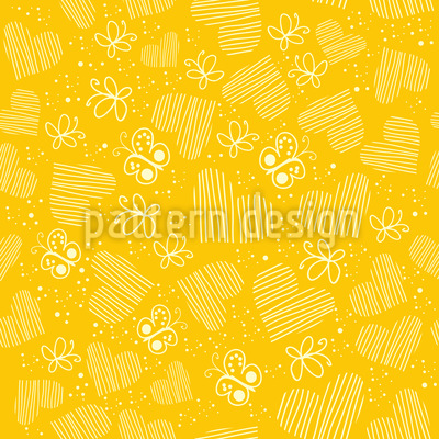 Butterflies and hearts on the Sun Design Pattern