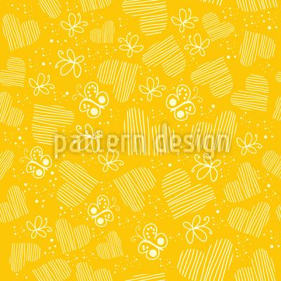Schmetterlinge Und Herzen Auf Der Sonne Designmuster