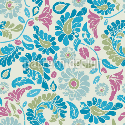 Fantasy Flowers With Patina Vector Pattern