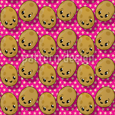 Die Kleinen Kawaii Kartoffeln Musterdesign