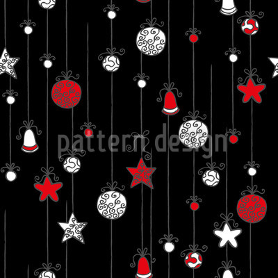 Christmas Tree Balls Black Vector Pattern