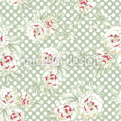 Roses And Polkadots Pattern Design