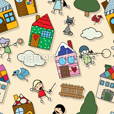 We Play Outside The House Pattern Design