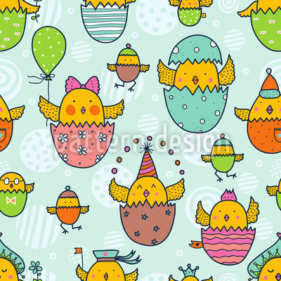 The Russian Easter Chick Hatch Seamless Pattern