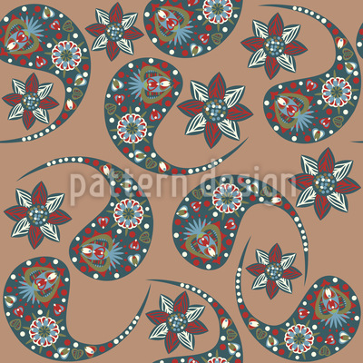 Nougat Paisleys Vektor Ornament