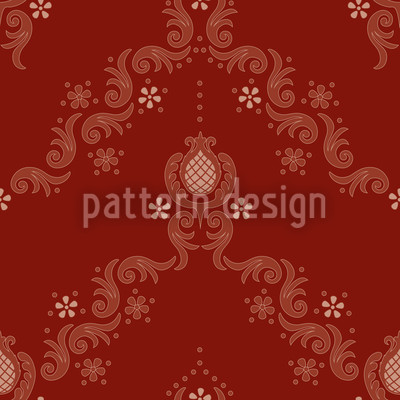 Floral Baroque Red Pattern Design