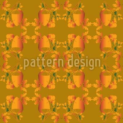 Acorns And Leaves Repeating Pattern