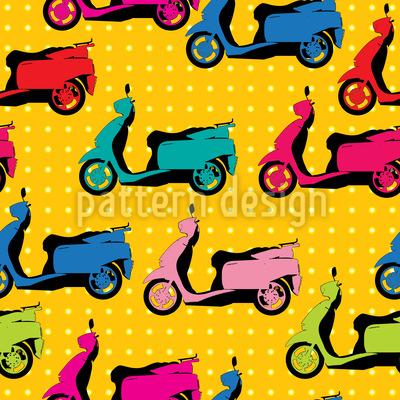 Motorroller Und Polkadot Vektor Muster